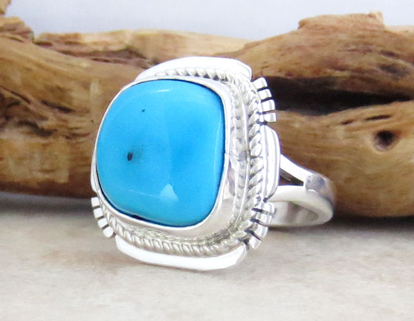 Image 3 of Navajo Sleeping Beauty Turquoise & Sterling Silver Ring Size 7 - 1542sn