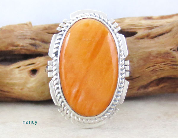 Native American Orange Spiny Oyster & Sterling Silver Ring Size 7 - 1650sn