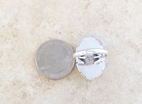 Image 4 of    Native American Jewelry Spiny Oyster & Sterling Silver Ring Size 7 - 1650sn