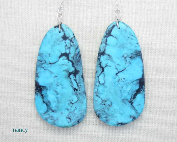 Image 0 of    Native American Made Turquoise Slab Earrings Jewelry - 1543pl
