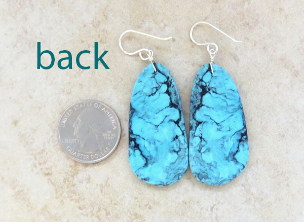 Image 2 of         Native American Made Turquoise Slab Earrings Jewelry - 1543pl