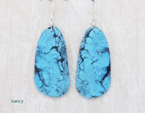 Native American Made Turquoise Slab Earrings Jewelry - 1543pl
