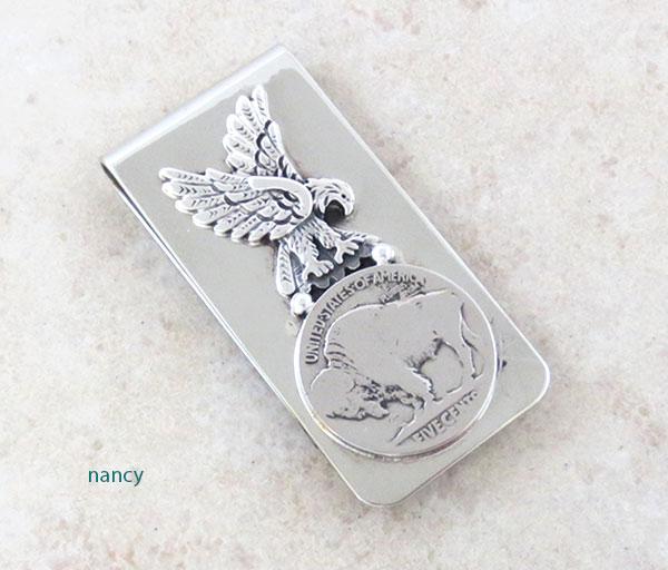 Buffalo Nickel & Silver Eagle Money Clip Native American - 2140sn