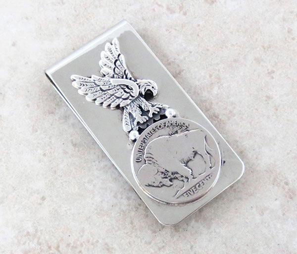 Image 0 of      Buffalo Nickel & Silver Eagle Money Clip Native American - 2140sn