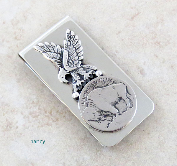 Buffalo Nickel & Silver Eagle Money Clip Native American - 1749sn