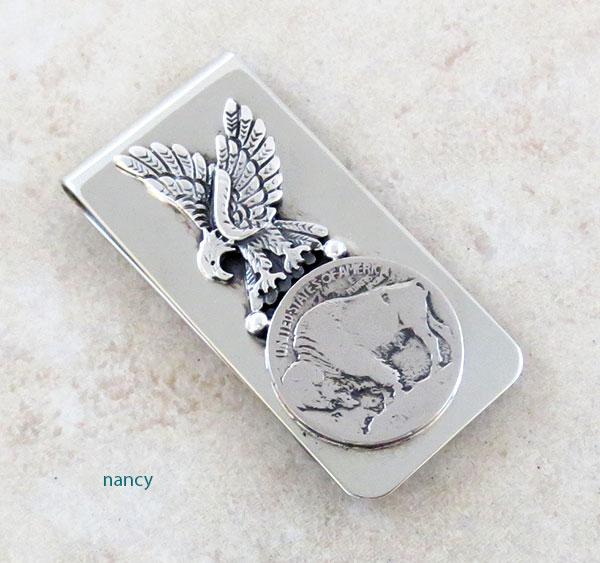 Buffalo Nickel & Silver Eagle Money Clip Native American - 1749sn