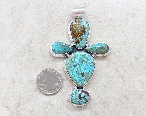 Image 1 of     Turquoise & Sterling Silver Cross Pendant Native American Jewelry - 4751sn