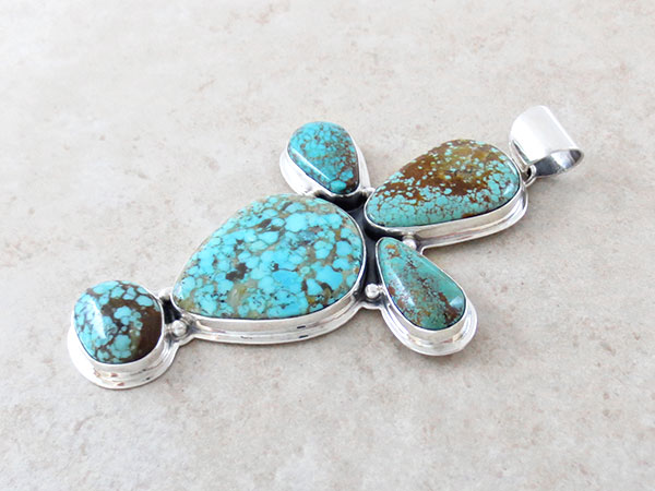 Image 2 of     Turquoise & Sterling Silver Cross Pendant Native American Jewelry - 4751sn