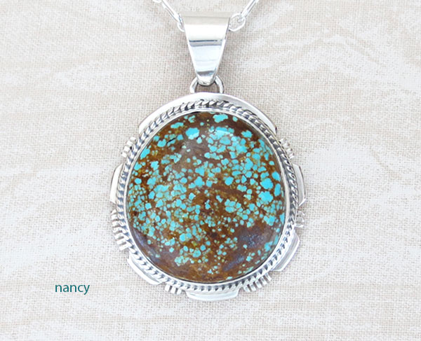 Image 0 of Native American Made #Number 8 Mine Turquoise & Sterling Silver Pendant - 4645sn