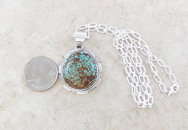 Image 1 of Native American Made #Number 8 Mine Turquoise & Sterling Silver Pendant - 4645sn