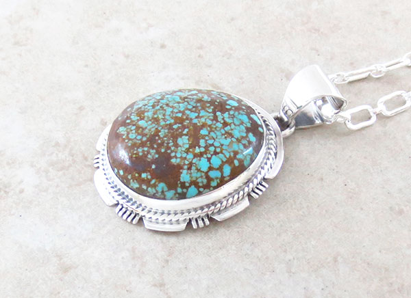 Image 2 of Native American Made #Number 8 Mine Turquoise & Sterling Silver Pendant - 4645sn