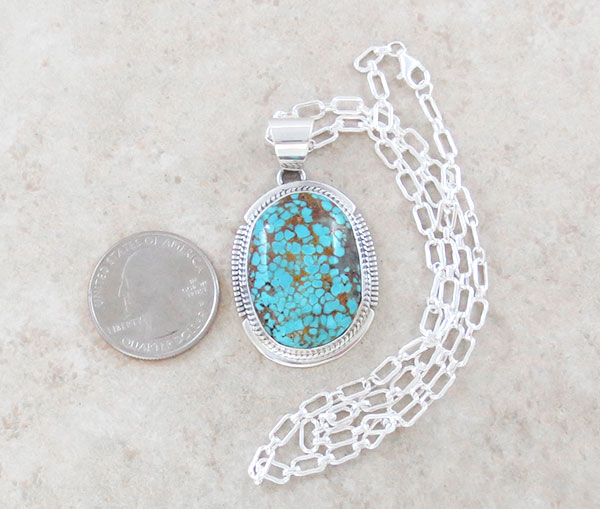 Image 1 of      Navajo Jewelry #8 Mine Turquoise & Sterling Silver Pendant w/Chain - 2146sn
