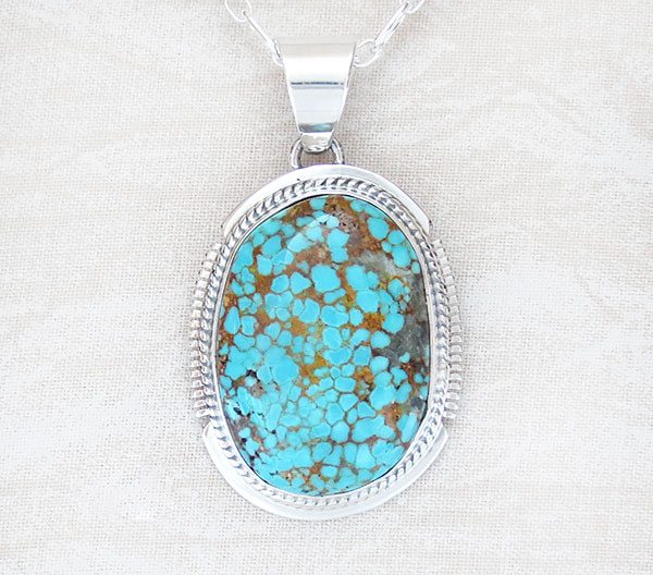 Navajo Jewelry #8 Mine Turquoise & Sterling Silver Pendant w/Chain - 2146sn