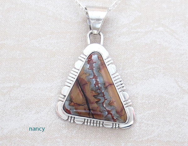 Native American Jewelry Mammoth Tooth Stone & Sterling Silver Pendant -1545sn