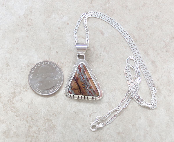 Image 1 of Native American Jewelry Mammoth Tooth Stone & Sterling Silver Pendant -1545sn