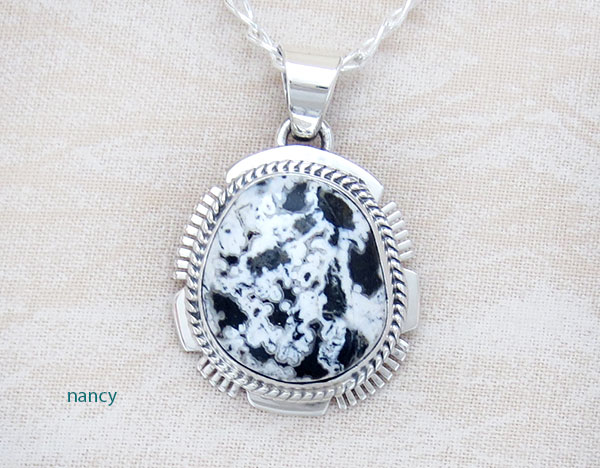 White Buffalo Stone & Sterling Silver Pendant Native American Jewelry- 1509sn