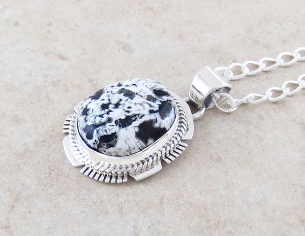 Image 2 of    White Buffalo Stone & Sterling Silver Pendant Native American Jewelry- 1509sn