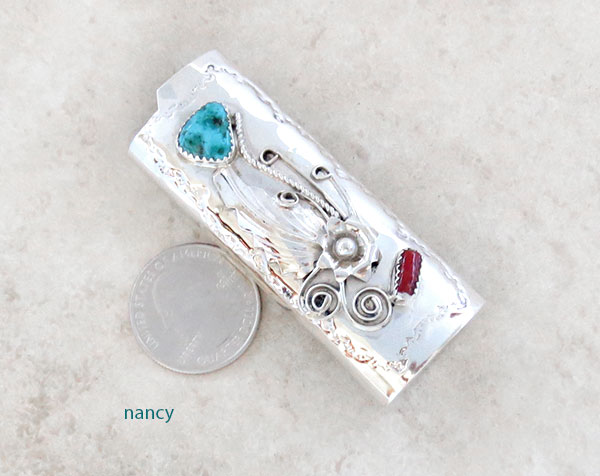 Image 0 of Turquoise Coral & Sterling Silver Lighter Case Native American Made - 1524rb