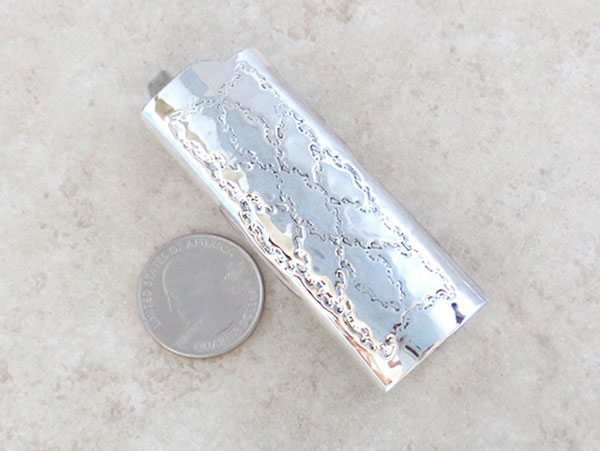 Image 1 of Turquoise Coral & Sterling Silver Lighter Case Native American Made - 1524rb