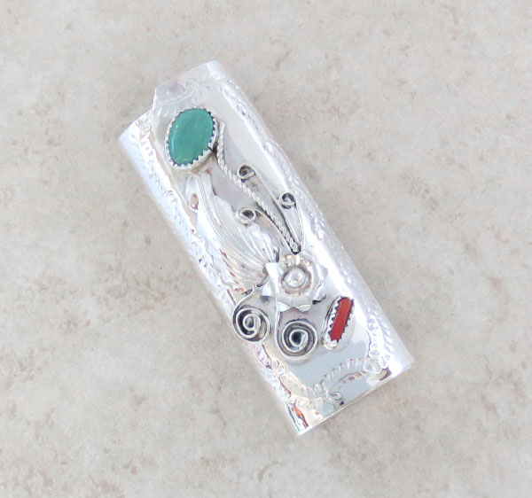 Turquoise Coral & Sterling Silver Lighter Case Native American Made 4651rb