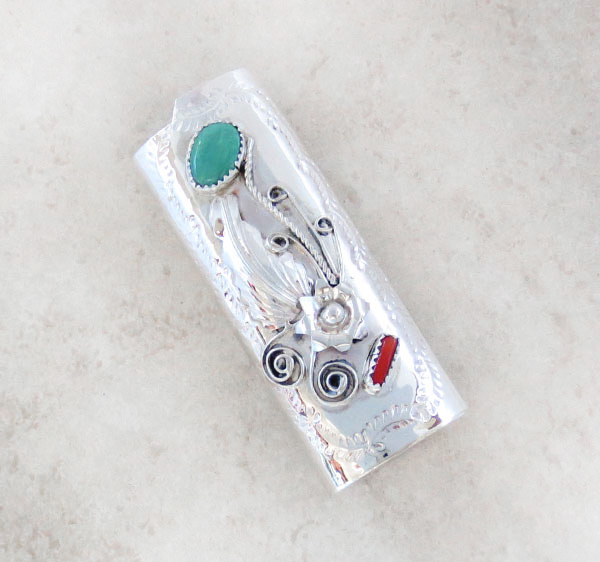 Image 0 of Turquoise Coral & Sterling Silver Lighter Case Native American Made 4651rb