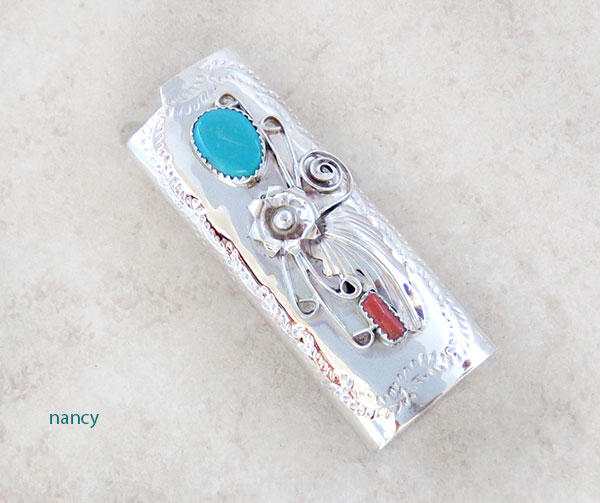 Turquoise Coral & Sterling Silver Lighter Case Native American Made - 4582rb