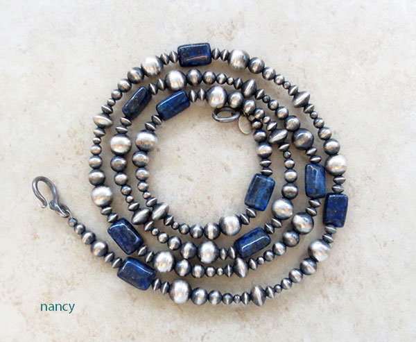 Lapis & Desert Pearl Sterling Silver Necklace 30 Long Navajo - 1546ft