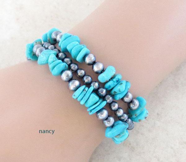 Image 0 of Turquoise & Sterling Silver Desert Pearls Toggle Bracelet Navajo - 1904ft