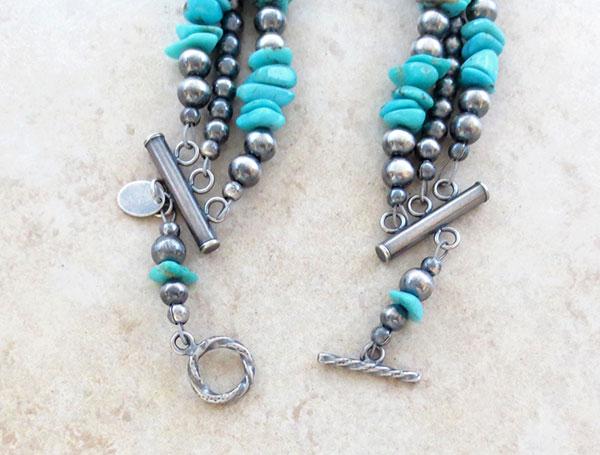 Image 2 of Turquoise & Sterling Silver Desert Pearls Toggle Bracelet Navajo - 1904ft