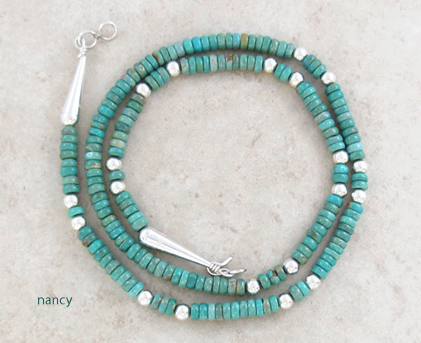 Turquoise & Sterling Silver Necklace 22 Native American Jewelry- 2450sn