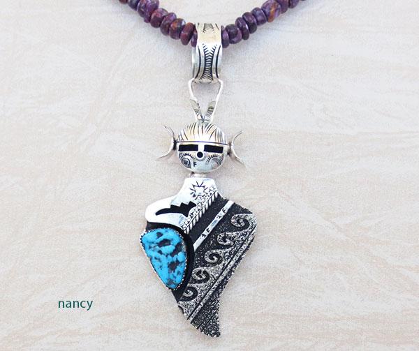 Image 0 of  Turquoise & Sterling Silver Hopi Maiden Pendant Navajo Richard Singer - 2429rb