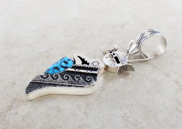 Image 2 of  Turquoise & Sterling Silver Hopi Maiden Pendant Navajo Richard Singer - 2429rb