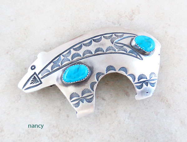 Huge Native American Made Turquoise & Sterling Silver Bear Barrette - 1572rb