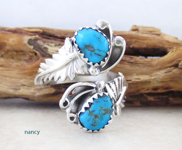 Image 0 of    Turquoise & Sterling Silver Adjustable Wrap Ring Native American Made -2423rb