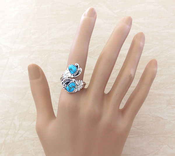 Image 1 of    Turquoise & Sterling Silver Adjustable Wrap Ring Native American Made -2423rb