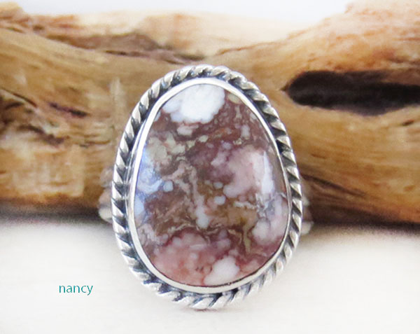 Native American Jewelry Wild Horse Stone & Sterling Silver Ring Sz 5.75 - 2456sn