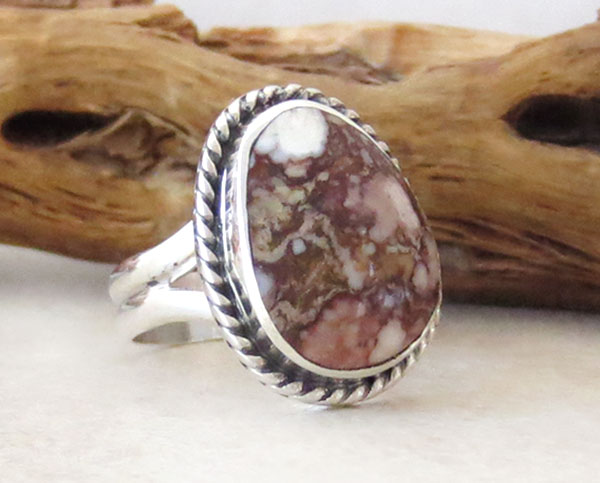 Image 3 of Native American Jewelry Wild Horse Stone & Sterling Silver Ring Sz 5.75 - 2456sn