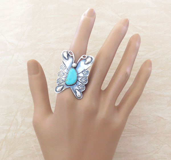 Image 1 of     Native American Turquoise & Sterling Silver Butterfly Ring Sz 9 - 2482rb