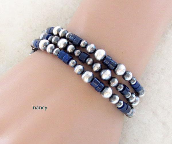 Lapis & Sterling Silver Desert Pearls Toggle Bracelet Navajo - 2419ft