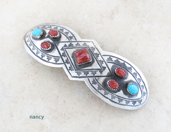 Huge Handcrafted Sterling Silver & Turquoise Barrette Navajo Made - 2468rb