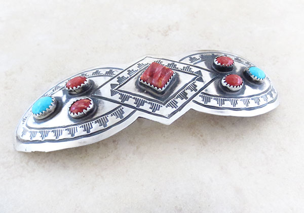 Image 1 of Huge Handcrafted Sterling Silver & Turquoise Barrette Navajo Made - 2468rb