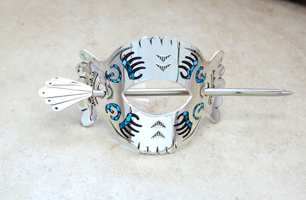 Image 2 of  Sterling Silver Turquoise & Coral Inlay Stick Barrette Native American - 4752rb