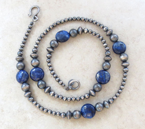 Image 0 of  Lapis & Desert Pearl Sterling Silver Necklace 22