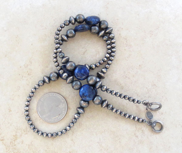 Image 1 of  Lapis & Desert Pearl Sterling Silver Necklace 22
