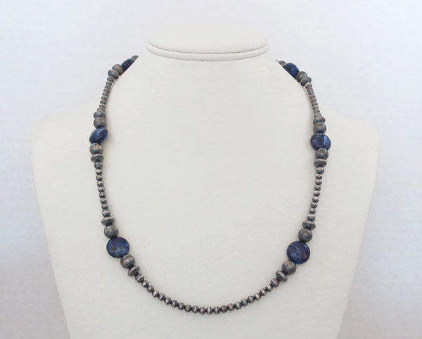 Image 2 of  Lapis & Desert Pearl Sterling Silver Necklace 22