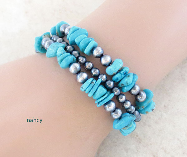 Image 0 of       Turquoise & Sterling Silver Bead Bracelet Native American Jewelry - 4582ft