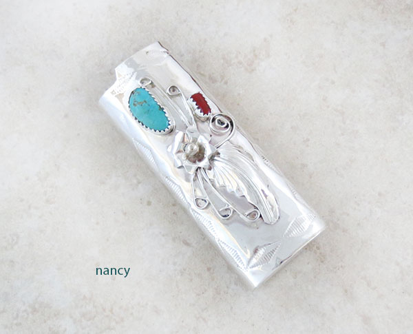 Turquoise Coral & Sterling Silver Lighter Case Native American Made - 4756rb
