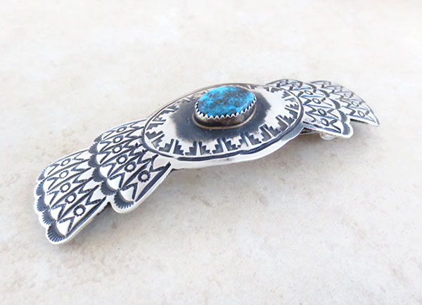 Image 1 of     Huge Handcrafted Sterling Silver & Turquoise Barrette Navajo Made - 4793rb