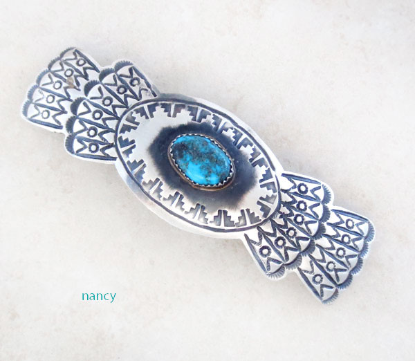 Huge Handcrafted Sterling Silver & Turquoise Barrette Navajo Made - 4793rb
