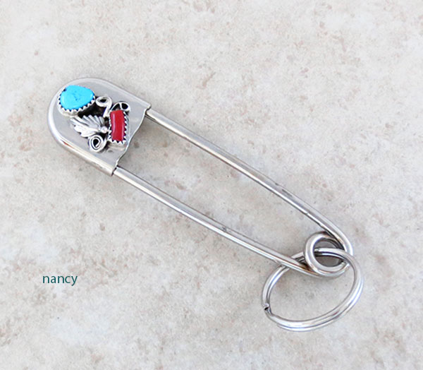 Large Turquoise & Coral Safety Pin Key Ring Native American Made - 2453rb